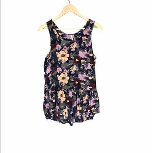 Frenchi from Anthropologie Dark Floral Tank Size M